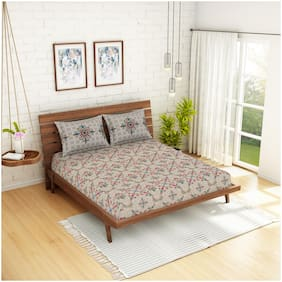 Spaces Cotton Abstract Double Size Bedsheet 210 TC ( 1 Bedsheet With 2 Pillow Covers , Beige )