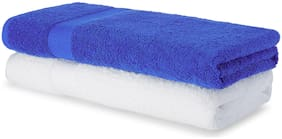 Spaces 480 GSM GSM Cotton Bath Towel ( 2 Pieces , Blue & White )
