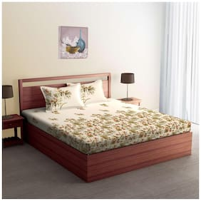 Spaces Cotton Printed Double Bedsheet ( 1 Bedsheet With 2 Pillow Covers , White & Green )