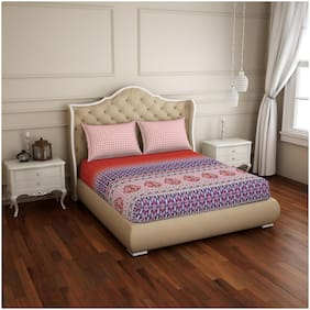 Spaces 210 TC Printed Flat Double Bedsheet ( Blue & Peach , Pack of 3 )
