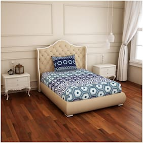 Spaces Cotton Geometric Single Size Bedsheet 144 TC ( 1 Bedsheet With 1 Pillow Covers , Blue & White )