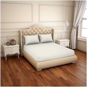 Spaces Cotton Solid King Size Bedsheet 500 TC ( 1 Bedsheet With 2 Pillow Covers , Off-white )