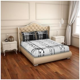 Spaces Cotton Printed King Size Bedsheet 220 TC ( 1 Bedsheet With 2 Pillow Covers , Black & White )