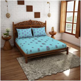 Spaces Cotton Floral Double Size Bedsheet 210 TC ( 1 Bedsheet With 2 Pillow Covers , Blue & Pink )