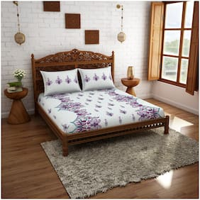 Spaces Cotton Floral Double Size Bedsheet 210 TC ( 1 Bedsheet With 2 Pillow Covers , White & Purple )