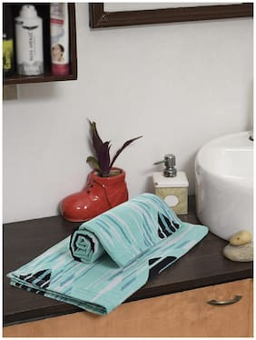 Spaces 380 GSM Cotton Hand Towel ( 2 Pieces , Turquoise )