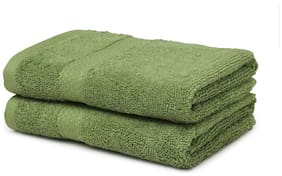 Spaces 480 GSM Cotton Hand Towel ( 2 Pieces , Green )