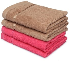Spaces Cotton Hand Towel (Brown;Pink)