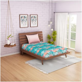 Spaces Cotton Floral Single Size Bedsheet 144 TC ( 1 Bedsheet With 1 Pillow Covers , Green )