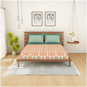Spaces Cotton Printed Double Size Bedsheet 210 TC ( 1 Bedsheet With 2 Pillow Covers , Orange & Turquoise )