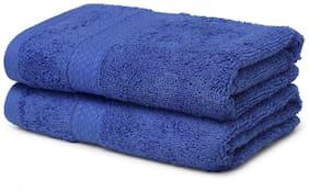 Spaces 480 GSM Cotton Hand towel ( 2 pieces , Blue )
