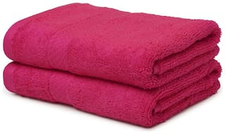 Spaces 480 GSM Cotton Hand Towel ( 2 Pieces , Pink )