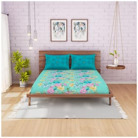 Spaces Cotton Floral Double Bedsheet ( 1 Bedsheet With 2 Pillow Covers , Pink & Turquoise )