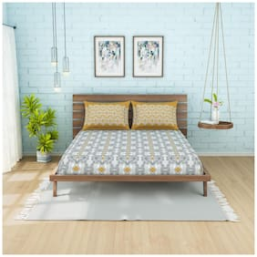 Spaces Cotton Printed Double Size Bedsheet 210 TC ( 1 Bedsheet With 2 Pillow Covers , Multi )