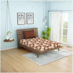 Spaces Cotton Printed Single Size Bedsheet 144 TC ( 1 Bedsheet With 1 Pillow Covers , Brown )