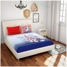 Spaces Cotton Kids Double Size Bedsheet 180 TC ( 1 Bedsheet With 2 Pillow Covers , Blue )