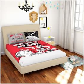 Spaces Cotton Printed Double Size Bedsheet 180 TC ( 1 Bedsheet With 2 Pillow Covers , Multi )