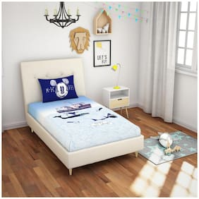 Spaces Cotton Kids Single Size Bedsheet 180 TC ( 1 Bedsheet With 1 Pillow Covers , Blue )