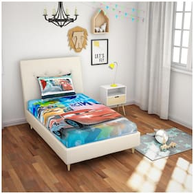 Spaces Cotton Kids Single Size Bedsheet 180 TC ( 1 Bedsheet With 1 Pillow Covers , Multi )