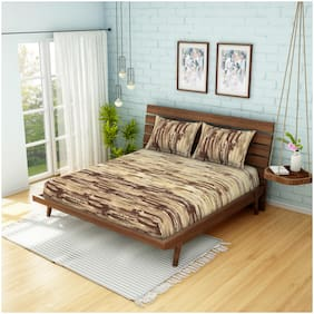 Spaces Cotton Abstract King Size Bedsheet 144 TC ( 1 Bedsheet With 2 Pillow Covers , Brown )