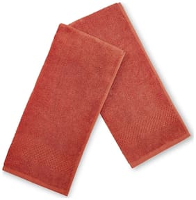 Spaces 450 GSM GSM Cotton Hand Towel ( 2 Pieces , Red )