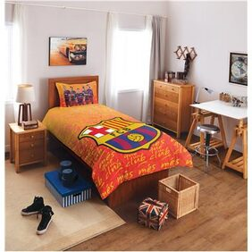 SPACES FCB Crest Orange Cotton Single Bed sheet With 1 Pillow Cover