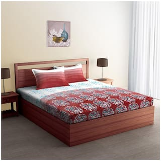 Buy SPACES Gond Tales Brunt Red 1 Double Bed Sheet with 2