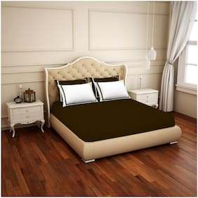 Spaces Cotton Solid King Size Bedsheet 300 TC ( 1 Bedsheet With 4 Pillow Covers , Brown & White )
