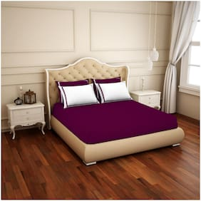 Spaces Cotton Solid King Size Bedsheet 300 TC ( 1 Bedsheet With 4 Pillow Covers , Purple & White )