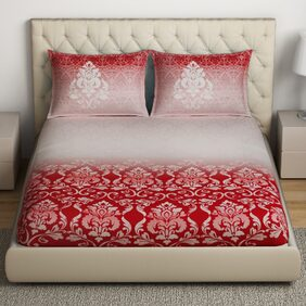 SPACES Intensity Red 1 Double Bed Sheet with 2 Pillow Covers