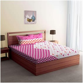 Spaces Cotton Floral Double Size Bedsheet 180 TC ( 1 Bedsheet With 2 Pillow Covers , Pink )