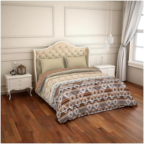 Spaces Cotton Geometric Single Size Comforter Beige & Brown