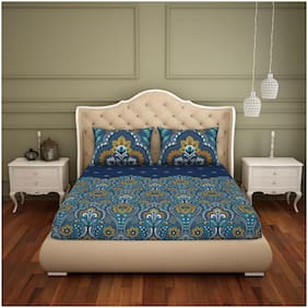 Spaces Cotton Floral King Bedsheet ( 1 Bedsheet with 2 Pillow Covers , Blue )