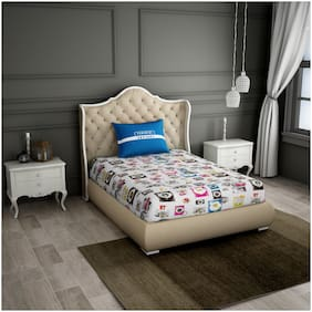Spaces Cotton Geometric Single Size Bedsheet 180 TC ( 1 Bedsheet With 1 Pillow Covers , Multi )