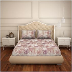 Spaces Cotton Floral King Size Bedsheet 180 TC ( 1 Bedsheet With 2 Pillow Covers , Maroon & Beige )