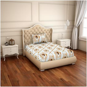 Spaces Cotton Geometric Single Bedsheet ( 1 Bedsheet with 1 Pillow Cover , Yellow & White )