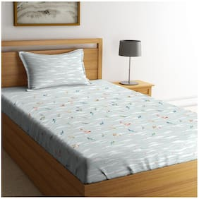 Spaces Cotton Printed Single Bedsheet ( 1 Bedsheet with 1 Pillow Cover , Grey )