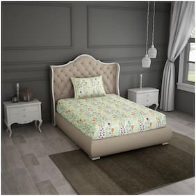 Spaces Cotton Floral Single Bedsheet ( 1 Bedsheet with 1 Pillow Cover , Multi )