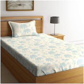 Spaces Cotton Floral Single Bedsheet ( 1 Bedsheet with 1 Pillow Cover , Blue & White )