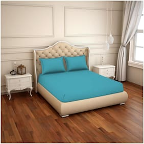 Spaces Cotton Solid King Bedsheet ( 1 Bedsheet with 2 Pillow Covers , Blue )