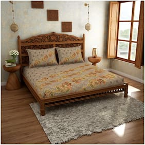 Spaces Cotton Abstract King Bedsheet ( 1 Bedsheet with 2 Pillow Covers , Brown & Yellow )