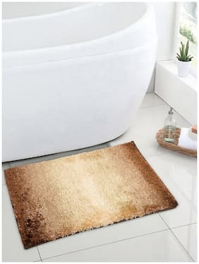 Spaces Regular Use Nylon Solid Rectangular Small Bath Mats Brown;Beige-Pack of 1