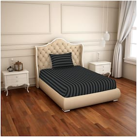 Spaces Cotton Striped Single Size Bedsheet 210 TC ( 1 Bedsheet With 1 Pillow Covers , Black )