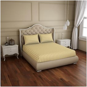 Spaces Cotton Striped King Size Bedsheet 210 TC ( 1 Bedsheet With 2 Pillow Covers , Beige )
