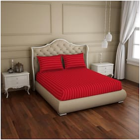 Spaces Cotton Striped King Size Bedsheet 210 TC ( 1 Bedsheet With 2 Pillow Covers , Red )