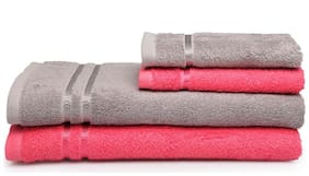 Spaces Season Best Grey And Pink 2 Bath Towel And 2 Hand Towel