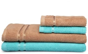 Spaces Season Best Turquoise And Brown 2 Bath Towel And 2 Hand Towel