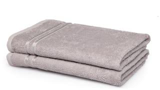 Spaces 375 gsm GSM Cotton Bath towel ( 2 pieces , Grey )