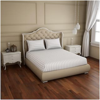 Spaces Cotton Striped King Size Bedsheet 210 TC ( 1 Bedsheet With 2 Pillow Covers , White )