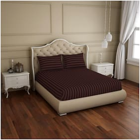 Spaces Cotton Striped King Size Bedsheet 210 TC ( 1 Bedsheet With 2 Pillow Covers , Brown )